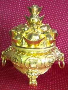 聚寶盆[中]金色青銅NO:828